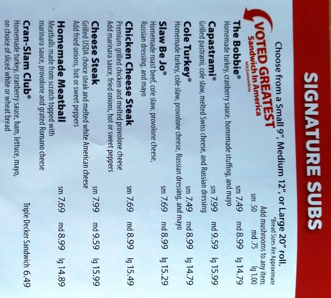 capriottis menu