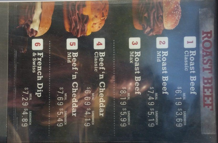 arbys menu