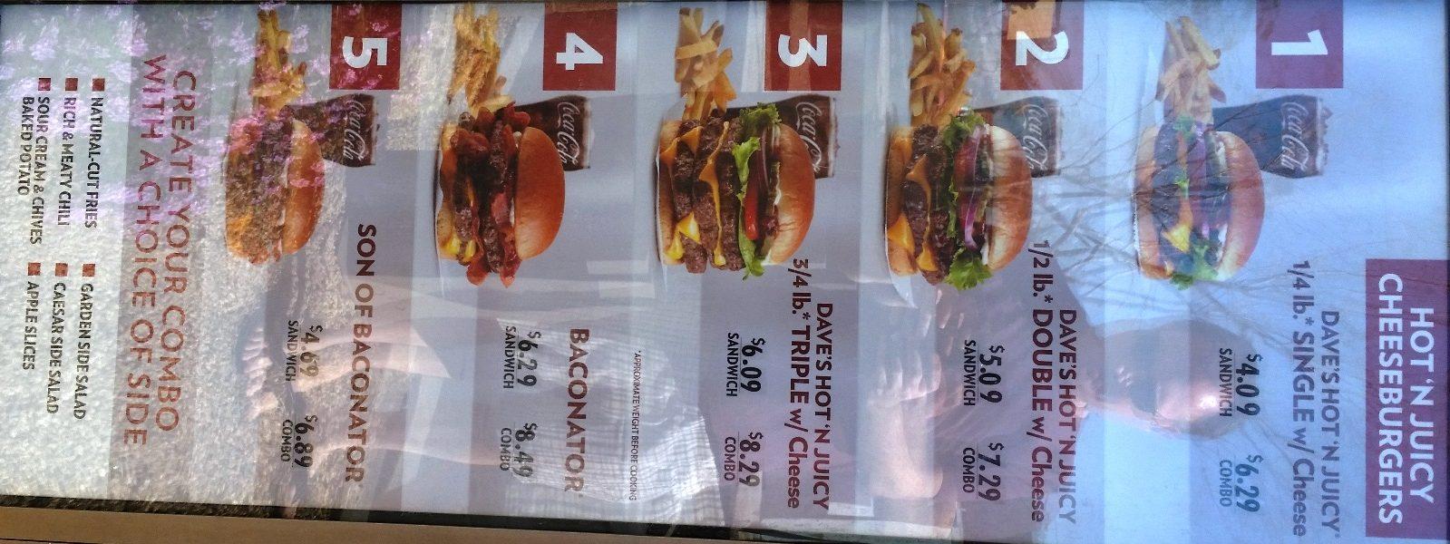 wendys menu