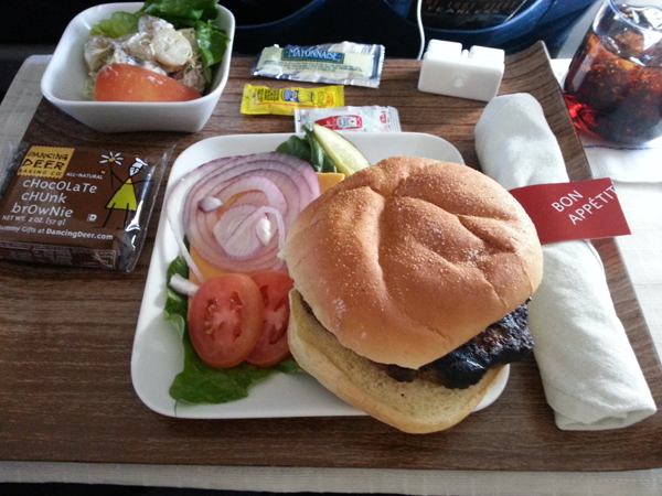 delta air lines burger first class meal