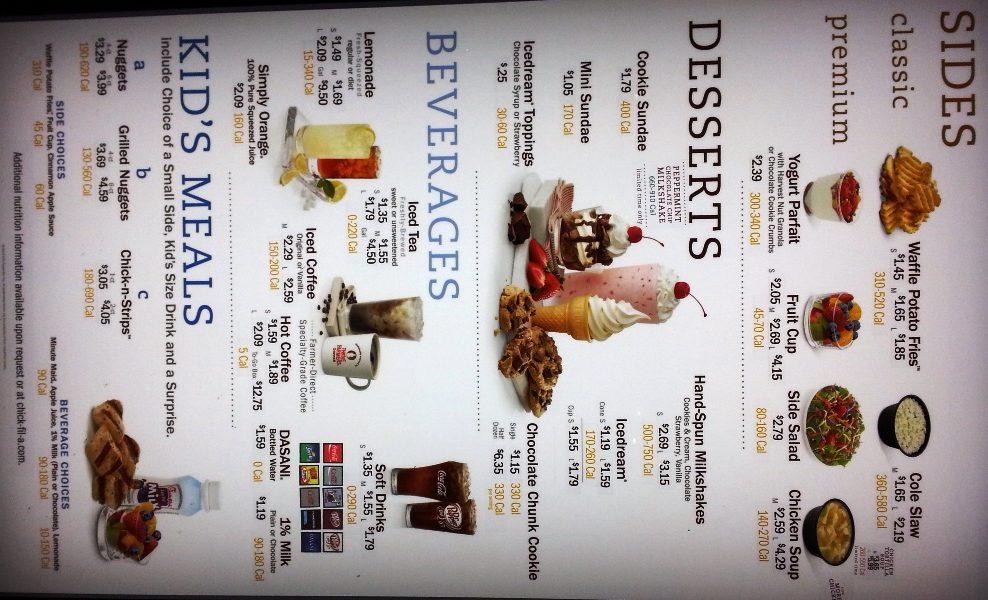 chik-fil-a menu
