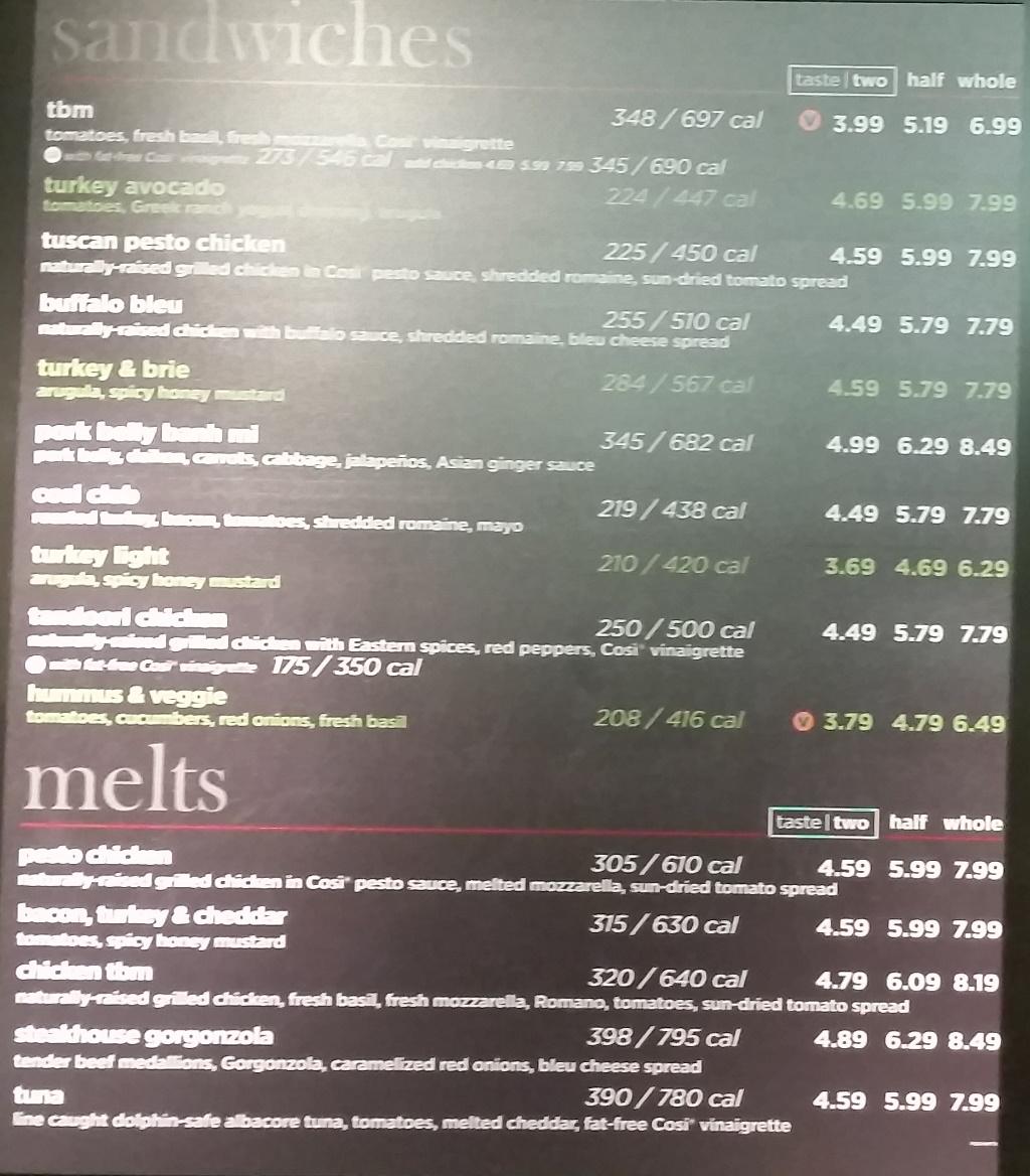 cosi menu