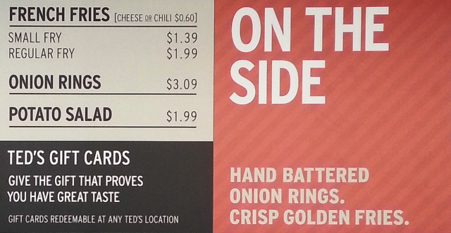 teds hot dog menu