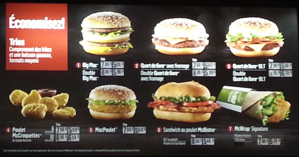 mcdonalds menu montreal