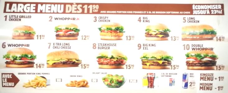 burger king geneva menu