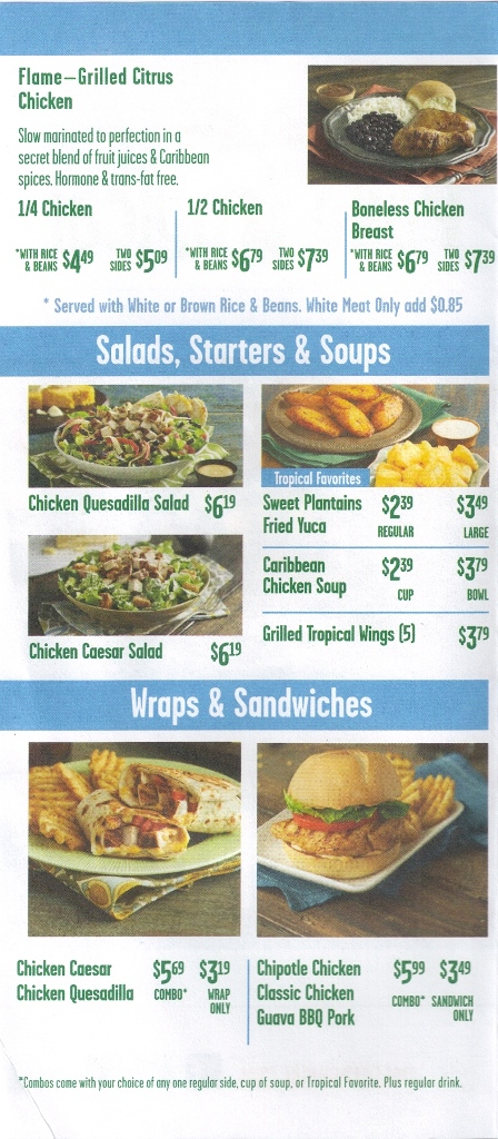 pollo tropical menu